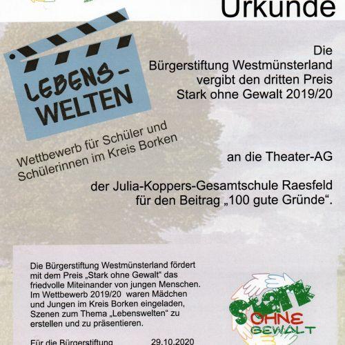 """3. Platz beim """"Stark ohne Gewalt"""" -Theater-Wettbewerb der Bürgerstiftung Westmünsterland"""